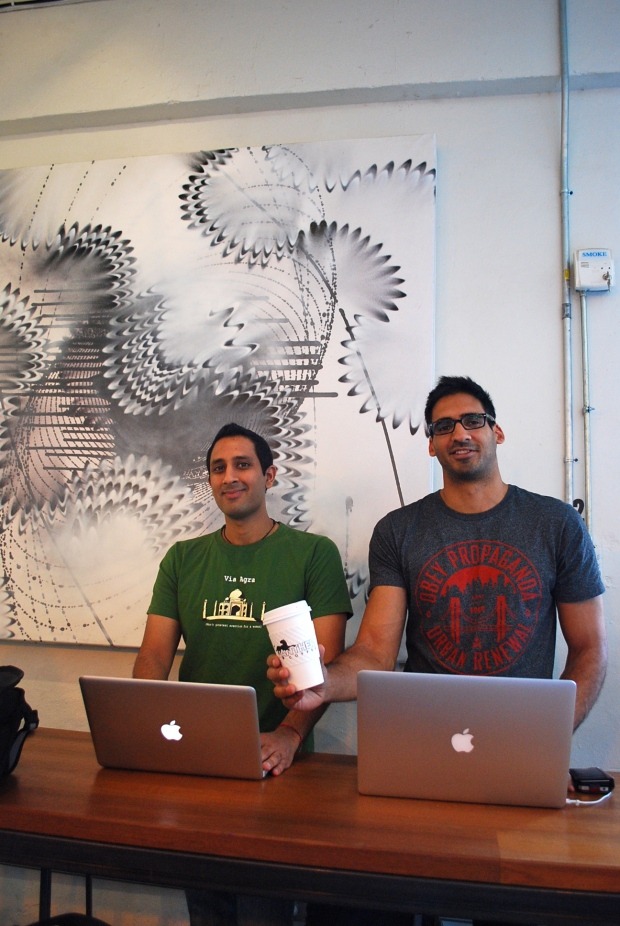 Suraj Hemnani and Shiv Takhar, of Weather Puppy at Panther Coffee