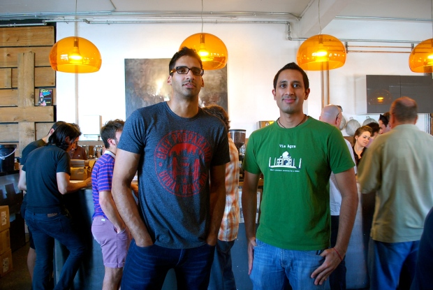 Shiv Takhar and Suraj Hemnani, of Weather Puppy at Panther Coffee