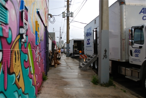 Production for Victoria's Secret Shoot in Wynwood