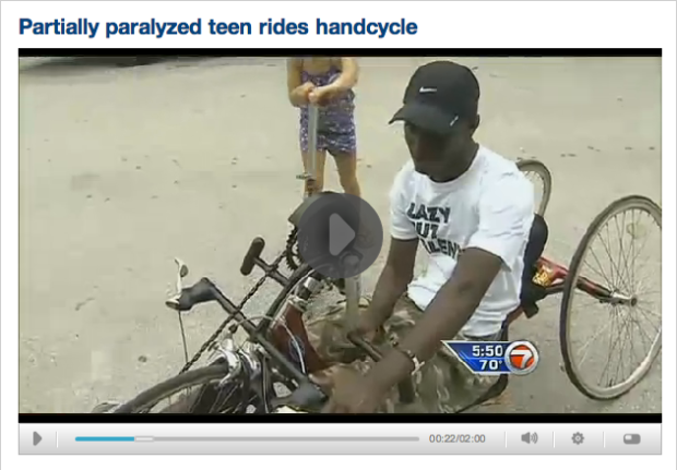 WSVN Paralyzed Teen Rides Handcycle