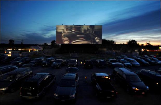 dusk at the drive-in
